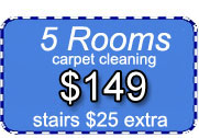 5 rooms of carpet cleaning for only $149 dollars with Certified Carpet Cleaning!